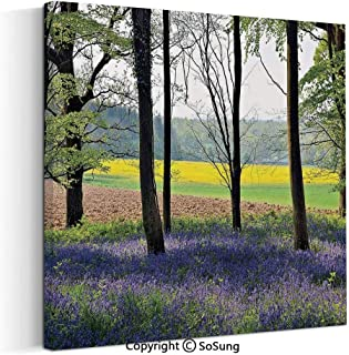 Large Canvas Prints Wall Art Oil Paintings Bluebells in Wepham Woods Wildflowers Spring Rural Environment Photo Print Modern Classic Giclee Pictures for Home Decor 30x30inch Purple Yellow Green