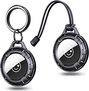 [2 Pack] Ztotops AirTag Case, Advanced Texture PC Protective Airtag Holder with Anti-Lost Keychain, Anti-Scratch Airtag Accessories for Backpack Key Pet Collar- Black