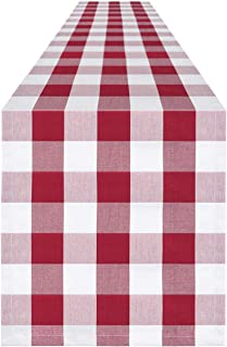 Syntus 14 x 108 inch Buffalo Check Table Runner Cotton-Polyester Blend Handmade Red and White Plaid for Family Dinner, Out...