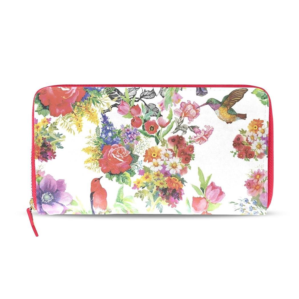生じる特権ありふれたAOMOKI 財布 レディース 長財布 花柄 薔薇 菊 鳥 カラフル ラウンドファスナー PUレザー 大容量 二つ折り 幅20*丈11cm