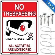 """No Trespassing 24 Hour Video Surveillance Sign 7""""x10"""