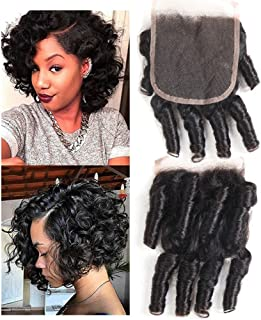 Molefi Brazilian Funmi Hair Closure 4x4 inch Spiral Curl Funmi Hair Lace Closure 100% Virgin Human Closure Hair Extensions Natural Black (8 inch Closure)