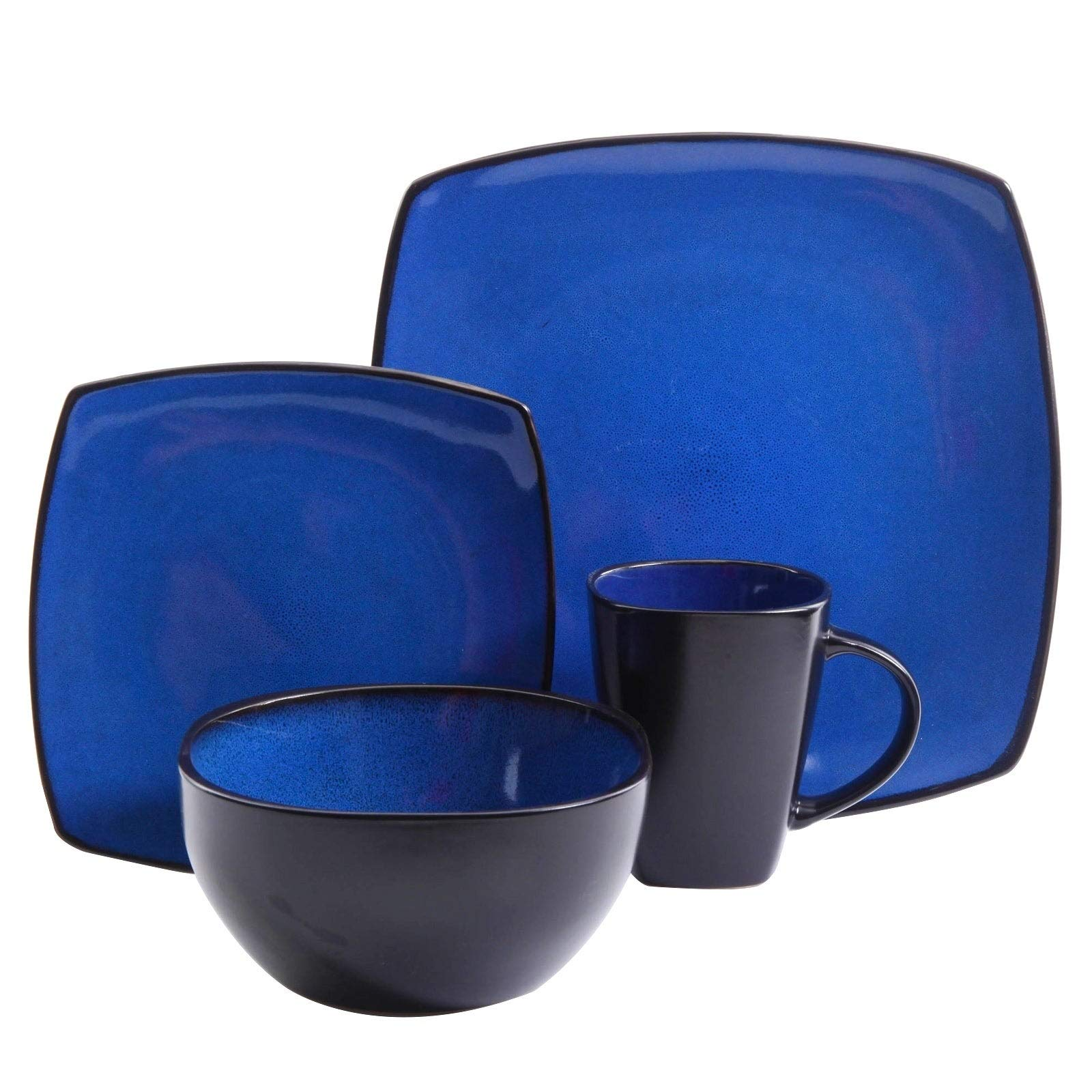 16 PCS Dinnerware Set Square Dinner Plates Mugs Dishes Bowls Home Kitchen Blue
