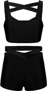 Aiihoo أطفال بنات 2 قطعة ملابس رياضية بأشرطة متقاطعة من الأمام مع سروال قصير للتدريب