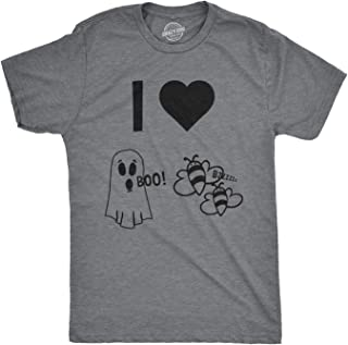 Mens I Heart Boo Bees Tshirt Funny Halloween Ghost Tee for Guys
