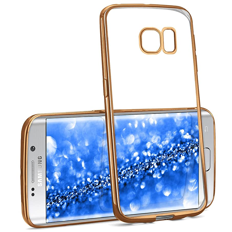 moex Samsung Galaxy S6 Edge Plus | Premium Soft Silicone Phone Case Transparent with Chrome Sides - Golden