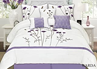 Fancy Collection 7-pc Embroidery Bedding Off White Purple Lavender Comforter Set (King)