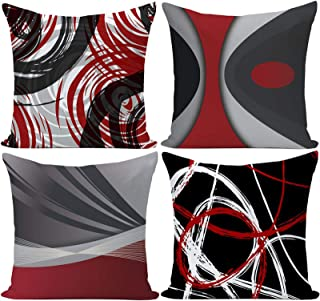 Best EZVING Set of 4 Throw Pillow Covers Modern Abstract Red Stripes Gray Black White Acrylic Bold Grey Decorative Pillow Cases Home Decor Square 16x16 Inches Pillowcases Review