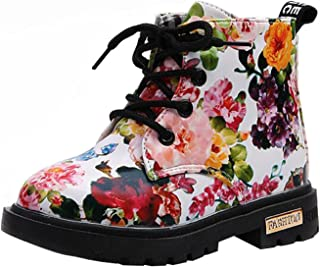 PPXID Toddler Little Boy's Girl's Waterproof Flowers Lace-Up and Zip Ankle Boots Shoes