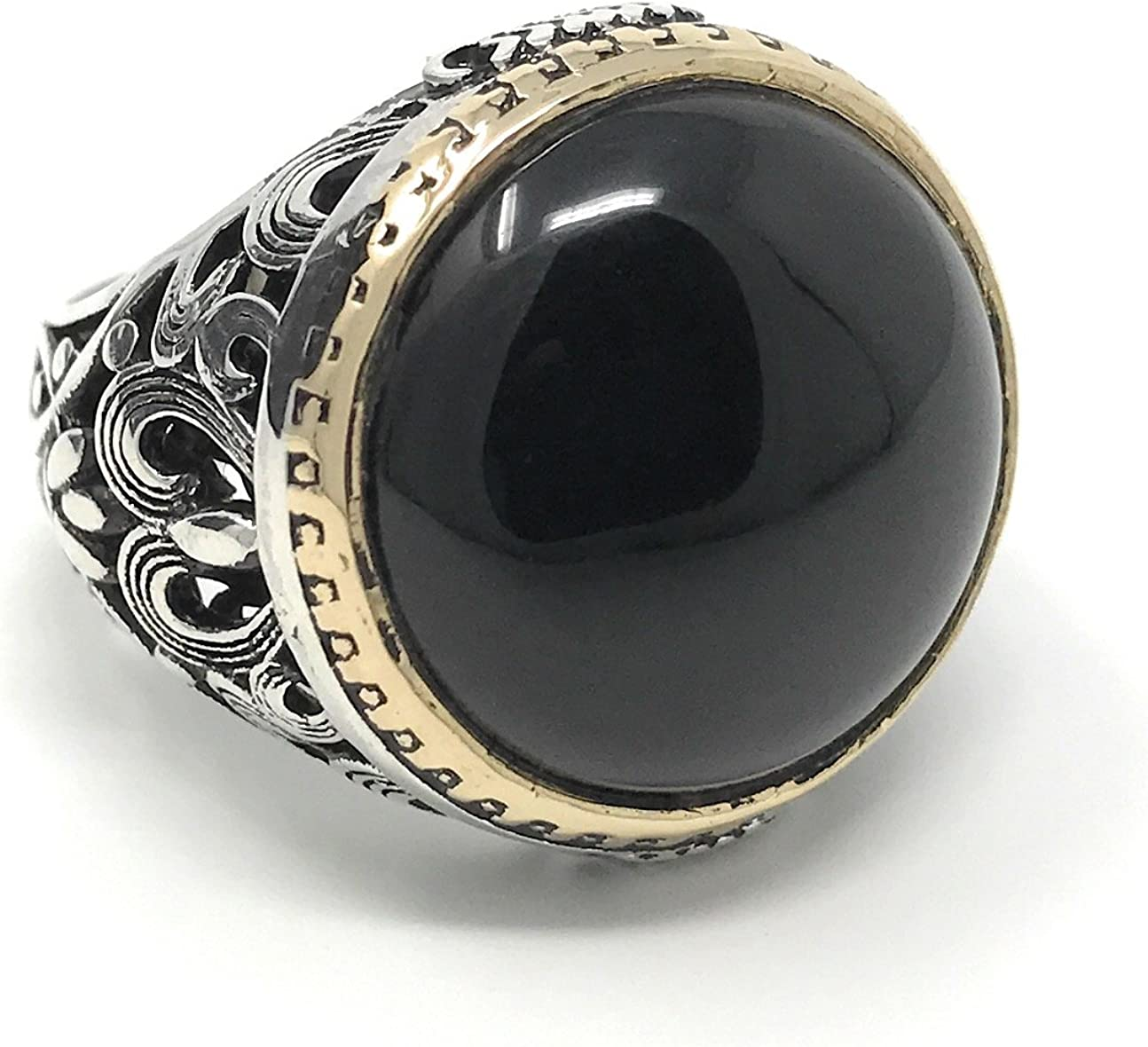KAR Sacramento Mall 925K Stamped Sterling Silver Men's Boston Mall Onyx Black I1M Ring