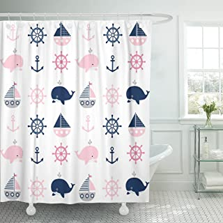 TOMPOP Shower Curtain Blue Cute Nautical Pattern Whales and Boats Baby Gray Waterproof Polyester Fabric 72 x 72 Inches Set with Hooks