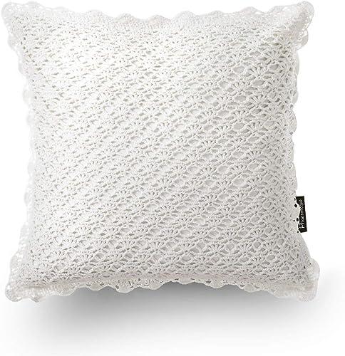 "high quality Phantoscope 100% Cotton Handmade Crochet White Decorative lowest Throw discount Pillow Case Cushion Cover 18"" x 18"" 45cm x 45cm outlet sale"