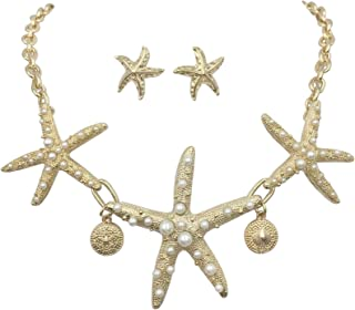 Gypsy Jewels 3 Starfish Simulated Pearl Textured Sealife Nautical Boutique Statement Necklace & Stud Earrings Set