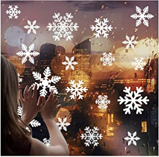 White Snowflakes Window Decorations Clings Decal Stickers Ornaments for Christmas Frozen Theme Party New Year Supplies-4 Sheets,108 pcs