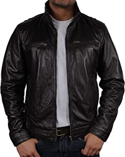 BRANDSLOCK Mens Leather Jacket Genuine Lambskin Moto Biker Slim fit