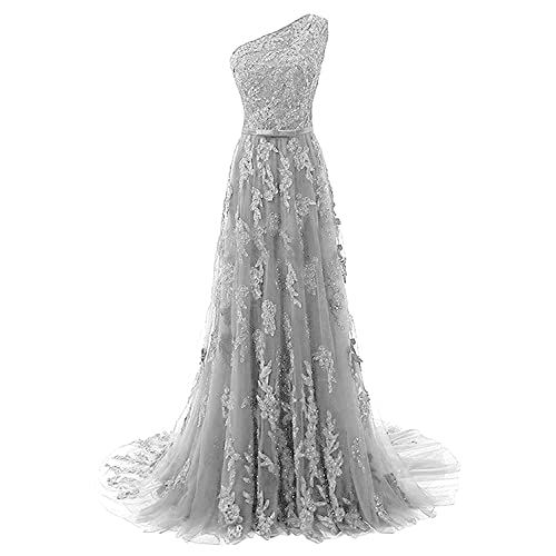 b8fbf89e570 Fanciest Women s One Shoulder Lace Prom Dresses 2019 Long Evening Gowns  Royal Blue