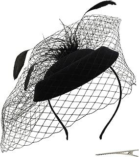 Fascinator Hat Flower Feather Mesh Veil Wedding Tea Party Derby Cocktail Hat Headwear for Women Lady Girls