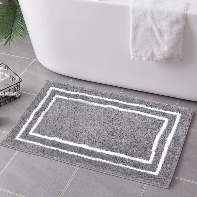 Uphome 5 ☆ popular Bathroom Mesa Mall Rugs Non-Slip Gray Banded Shaggy Bath 18x24 Mat