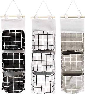 KAHEIGN Lot de 3 sacs de rangement à suspendre au mur, 60 x 20 cm, empilables, 3 couches, en tissu de lin imperméable, org...
