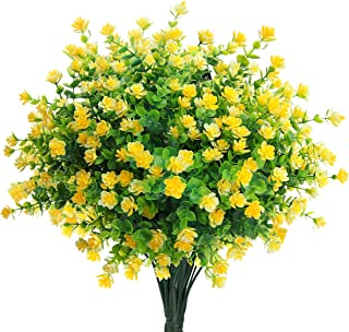 Mocoosy 8 Bundles Artificial Flowers, Decorative Artificial Flowers Fake Plants UV Resistant Outdoor Artificial Flowers Bu...