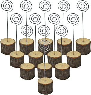 Bantoye 20 Pcs Rustic Table Wood Stands, 6 Inches Real Wooden Base Memo Photo Clip Card Holders Paper Note Clip for Christmas Party Wedding Home Bar Decoration