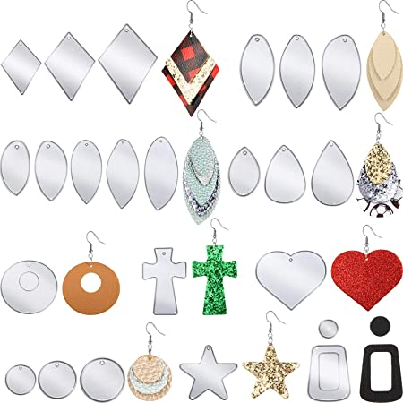 12pk-Leather Medium Circle Die Cut Oil Tanned Satin Black DIY Earrings DE-73383 Section 10