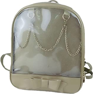 Smilecoco Candy Leather Bow Backpack Plastic Transparent Beach Girls School Bag