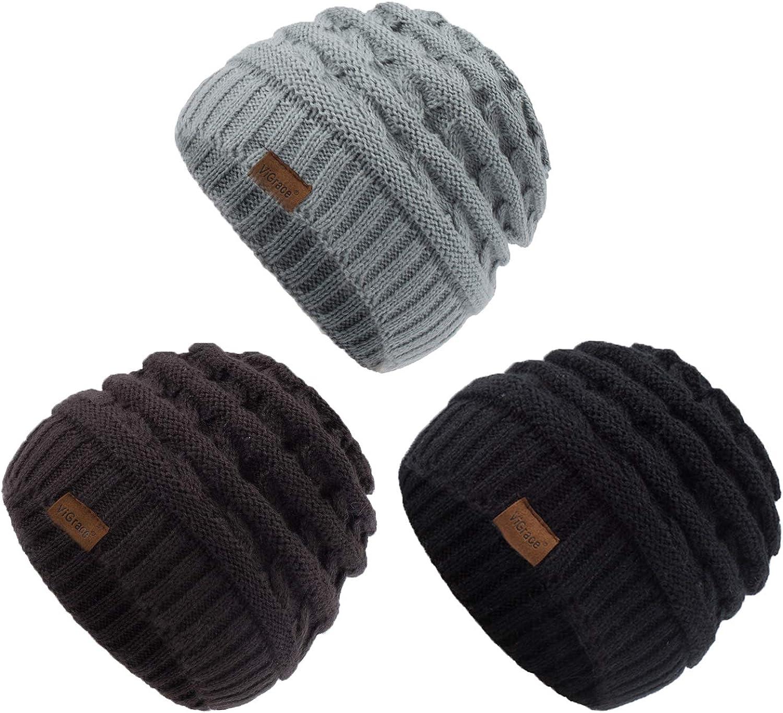 ViGrace Kids Winter Knit Hat Warm Fleece Lined Hats Children Cable Baby Beanie Skull Cap for Girls Boys
