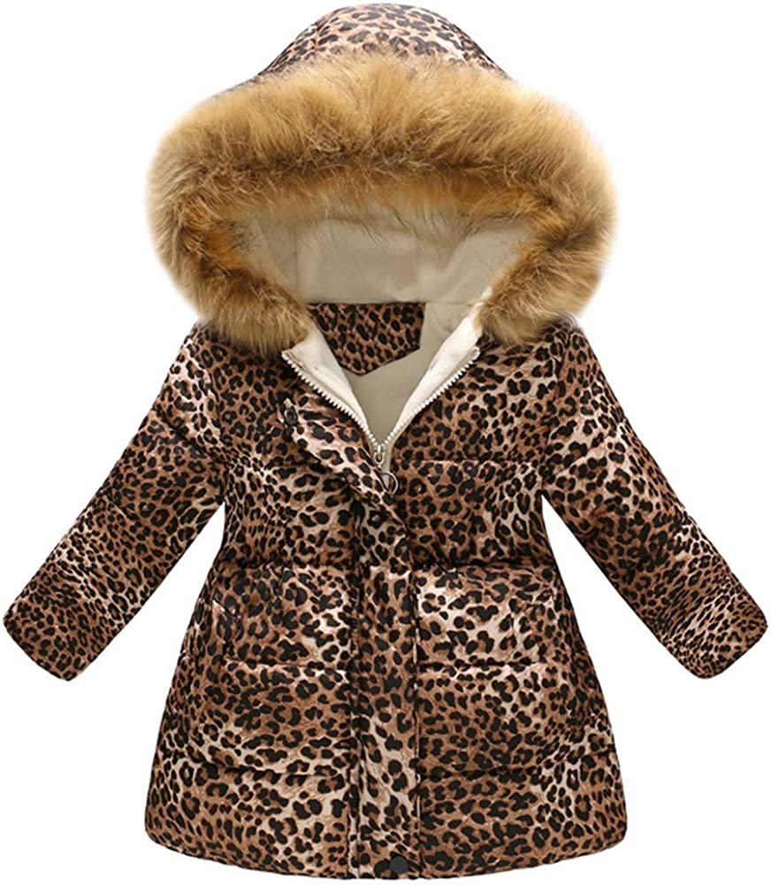 Kid's Winter Warm Hooded Outwear Water-Resistant Parka Cotton Jacket Fur Collar Windproof Outdoor Down Coat