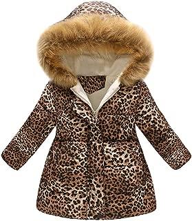 WARMSHOP Girls Boys Outwear Down Coat for 1-7T, Fall Winter Warm Thick Leopard Print Windproof Cotton Hooded Jacket