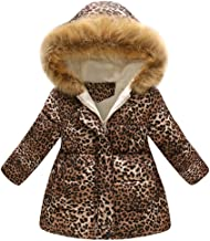 Winter Girls Down Jacket,Baby Toddler Leopard Print Warm Hooded Outerwear Coat (Khaki, Recommended Age:5-6Years/Label Size:140)