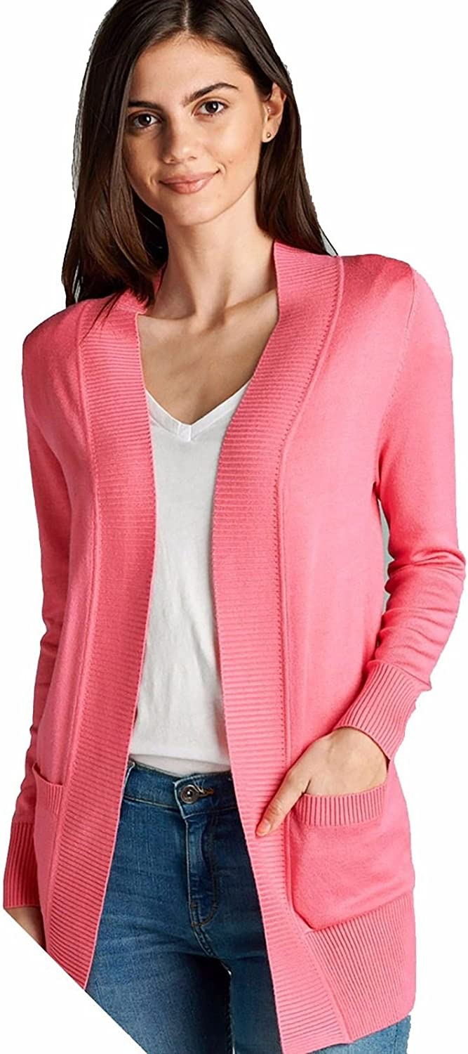 Women's Long Sleeve Cardigan Open Front Draped Sweater Rib Banded Pockets Plus Size SW7948XL (Rose Pink, XL)