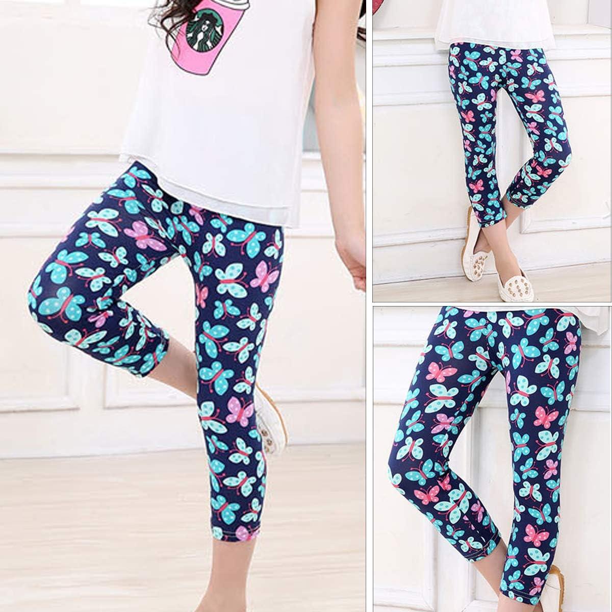 2-3 Pcs Kids Girls Leggings Children Stretch Floral Pattern Pants Tights Age 4-13 Years