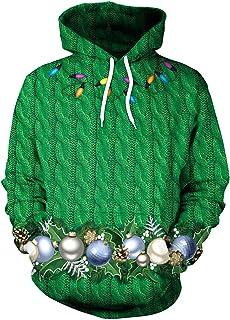 GLUDEAR Unisex 3D Ugly Christmas Pattern Pullover Novelty Hoodies Sweatshirt Outwear