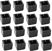 Antrader 16pcs Black Silicone Furniture Pads Square Shape Floor Protector Chair Sofa Non-Slip Feet Pad Leg Cap with Felt P...