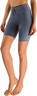 MYIFU Women's Solid Stretch High Waist Board Shorts Training Sport Swim Short