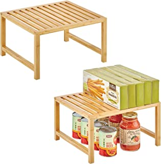 mDesign organiseur de cuisine – rangement pour étagère de cuisine pratique en bambou écologique – accessoire de rangement ...