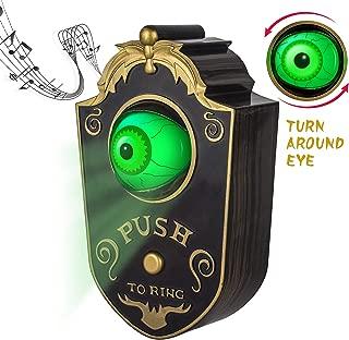 Sler Halloween Decoration for Indoor & Outdoor, Animated Lightup Talking Eyeball Doorbell for Animatronic Halloween Decor, Trick or Treat Event for Kids, Haunted House Halloween Party Prop Decoration