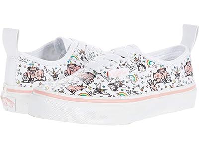 Vans Kids Authentic Elastic Lace (Little Kid) ((Puppicorns) True White/Flamingo Pink) Girl