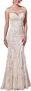 Lace Wedding Dresses Long Satin Sheath Illusion Neckline Mermaid Dress for Brides Wedding
