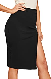 Women's Sexy High Waist Solid Color Side Split Elastic Skirt