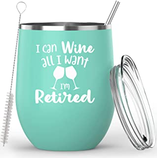 Retirement Gifts For Women – I Can Wine All I Want I'm Retired Insulated 12oz Stainless Steel Wine Glass Coffee Mug Tumbler - With Lid, Straw, and Cleaning Brush - Happy Retirement Gifts