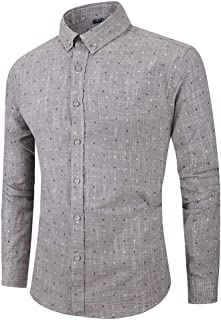 NIUQI Men's Long Sleeve Button Turndown Collar Dot Casual Top Blouse Shirts