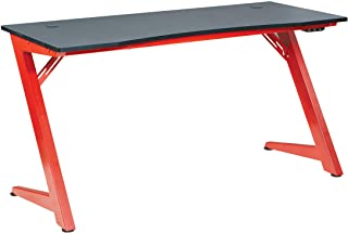 OSP Home Furnishings Beta Battlestation LED Lit Gaming Desk, Matte Red