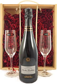 Nicolas Feuillatte 2014 Brut Blanc de Blancs Vintage Champagne with Two Riedel Crystal Champagne Flutes