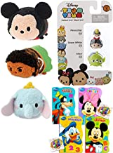 Tsum Tsum Stackable Fun Figures Mini Series 3 Pack Stackers Pinocchio / Snow White / Alien Bundled with Plush Mickey Mouse & Dumbo + Maui from Moana + Classic Shaped Book Pals 3 Items