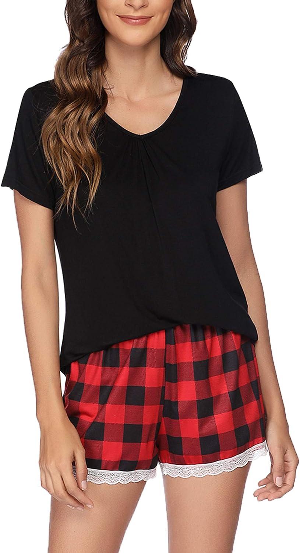 Ekouaer Women's Pajama Set Short Pj Set Print Pjs Sleepwear Cute Loungwear S-XXL