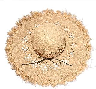 SHENTIANWEI Summer Lafite Straw hat raw Edge Ladies Big Straw hat Visor Beach hat Travel hat Lafite Straw hat (Color : Wheat-Colored)