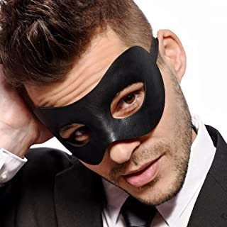 Classic - Men's Black Masquerade Mask - Faux Leather - Venetian - Mens - Unisex - Fancy Goods
