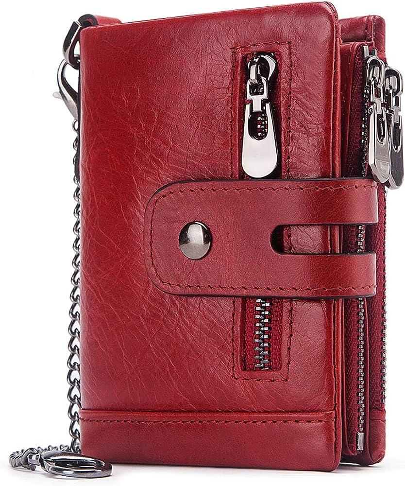Reetee portafoglio, porta carte di credito, con catena, in vera pelle, rosso